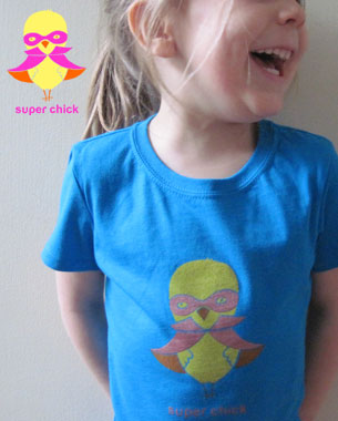 "I created Super Chick first as an illustration, then as a t-shirt design. I created a marketing campaign for Super Chick which encourages girls to be ""Super"" in diverse, productive ways."