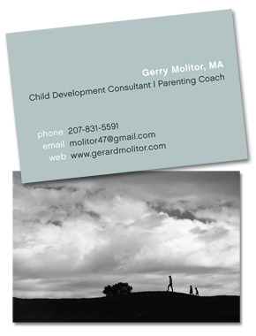 I designed these two-sided business cards for a Child Development Consultant/Parenting Coach client who works primarily with mothers.